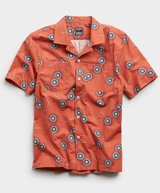 Todd Snyder Limited Edition Bullseye Print Camp Collar Short Sleeve Shirt in Clay