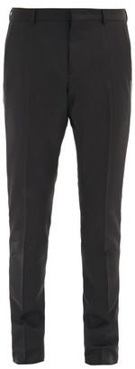 Valentino Side-striped Wool-blend Slim-leg Trousers - Black White