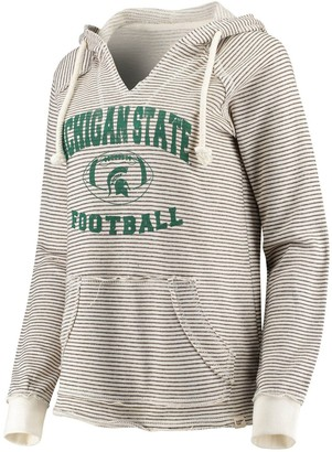 Women's Blue 84 Cream Michigan State Spartans Striped Football V-Neck Raglan Pullover Hoodie