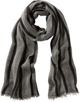 Joe Fresh Women's Print Frayed Edge Scarf, Black (Size O/S)
