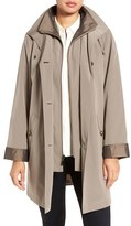 Gallery Petite Women's Two Tone Long Silk Look Raincoat