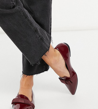 ASOS DESIGN Wide Fit Luan bow pointed ballet flats in burgundy patent