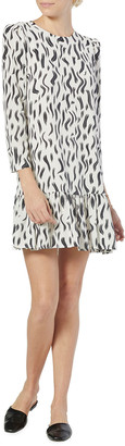 Joie Noto 3/4-Sleeve Flounce-Hem Mini Dress