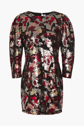 IRO Gathered Sequined Georgette Mini Dress