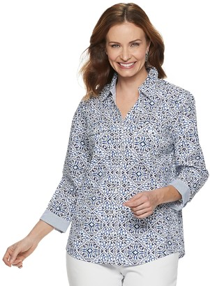 Croft & Barrow Women's Print Knit-to-Fit Shirt