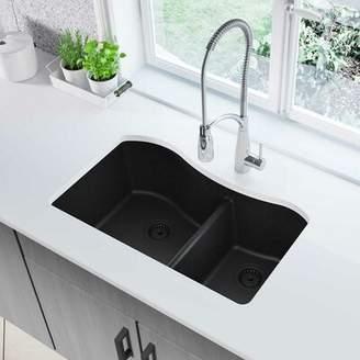 "Elkay Quartz Classic 33"" x 20"" Double Basin Undermount Kitchen Sink Finish: Black"