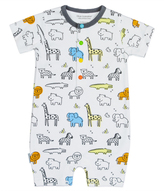 Kushies White & Blue On Safari Romper - Infant