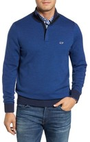Vineyard Vines Men's Birds Eye Quarter Zip Merino Pullover