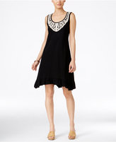 Style&Co. Style & Co Style & Co Petite Cotton Crochet-Neck Fit & Flare Dress, Created for Macy's