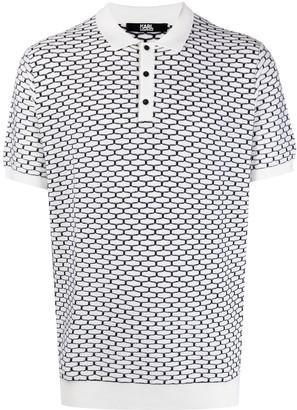 Karl Lagerfeld Paris Geometric-Embroidered Wool Polo Shirt