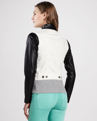 DL1961 Rocky Leather and Denim Jacket