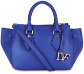 Diane von Furstenberg Women's Voyage Small Double Zip Leather Tote Bag Blue
