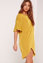 Missguided Slinky Wrap Over Dress Chartreuse Green