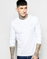 Farah Long Sleeve T-Shirt with F Logo in Reg Fit
