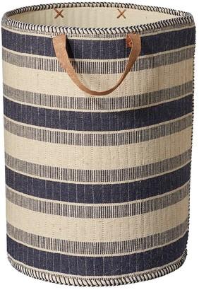 OKA Medium Striped Laundry Basket - Navy/Natural