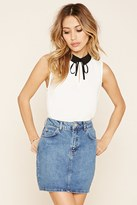 Forever 21 FOREVER 21+ Contrast-Collar Tie-Neck Top