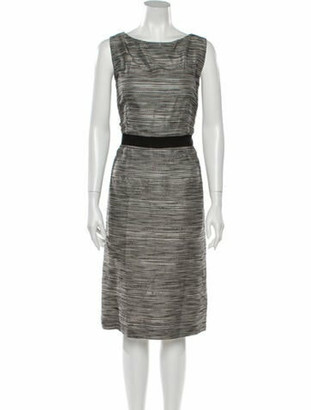Christian Dior Striped Midi Length Dress Grey