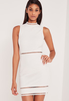Missguided Carli Bybel High Neck Lace Bodycon Dress White