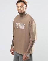 Asos Oversized Short Sleeve Sweatshirt With Burnout Print