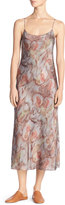 Vince Watercolor Silk Midi Slip Dress, Fig (Orange)