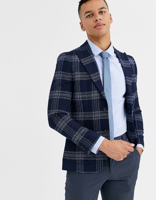 Moss Bros slim fit suit jacket in blue check-Navy