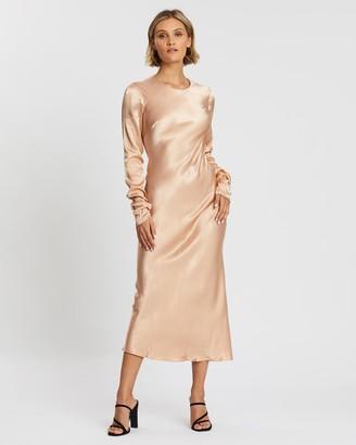 Shona Joy Wright Long Sleeve Bias Midi Dress