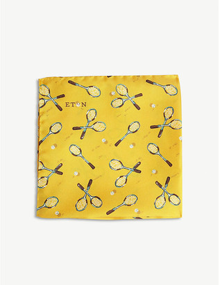 Eton Tennis racket silk pocket square