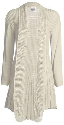 GirlsWalk Women's Long Sleeves Plain Crochet Knitted Waterfall Cardigan Sweater - off-white - One Size = 8-16