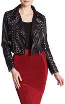 Wow Couture Studded Faux Leather Cropped Jacket