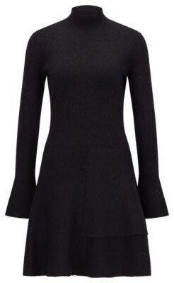 HUGO BOSS Fit And Flare Knitted Dress In A Sparkly Wool Blend - Black