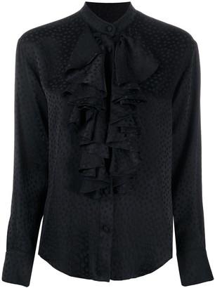 AMI Paris Polka Dot Ruffle Shirt