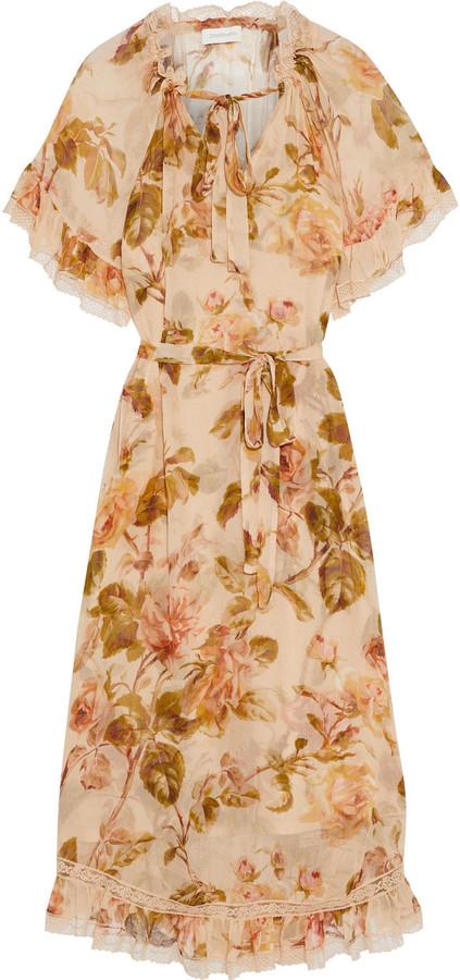 Zimmermann Resistance Tiered Tie-neck Floral-print Silk-georgette Midi Dress