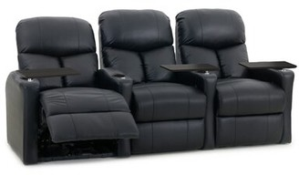 Latitude Run Home Theater Sofa (Row of 3 Upholstery: Luxe Black, Recliner Type: Power