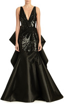 Carolina Herrera V-Neck Sleeveless Taffeta Trumpet Gown w/ Sequin Bodice