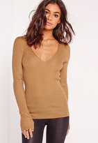 Missguided Skinny Rib Plunge Sweater Camel