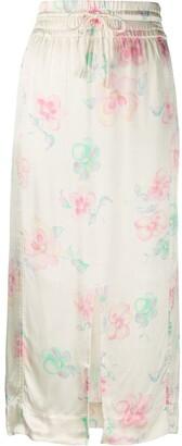Ganni Drawstring Floral-Print Skirt