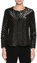 Giorgio Armani Perforated Leather Bracelet-Sleeve Jacket, Black