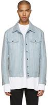 Balmain Blue Embroidered Denim Jacket