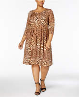 NY Collection Petite Plus Size Pleated Animal-Print Dress