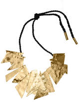 Josie Natori Hammered Brass Buffed Geometric Necklace