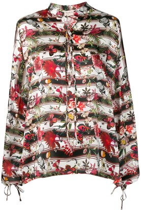 Black Coral butterfly print blouse