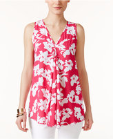 Alfani Floral-Print Pleated Top, Only at Macy's