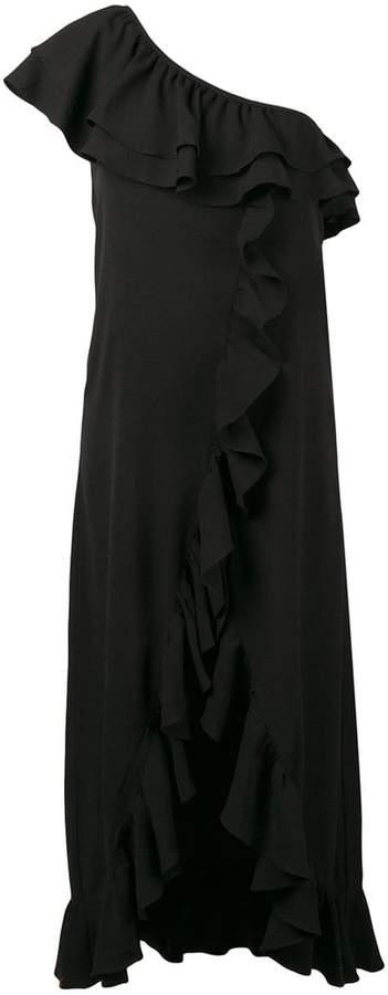 Ganni asymmetric ruffled dress