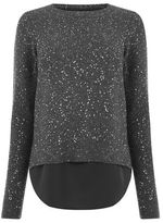 """Oasis PETAL BACK SEQUIN TOP [span class=""""variation_color_heading""""]- Mid Grey[/span]"""
