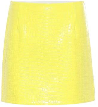 Tibi Croc-effect patent miniskirt