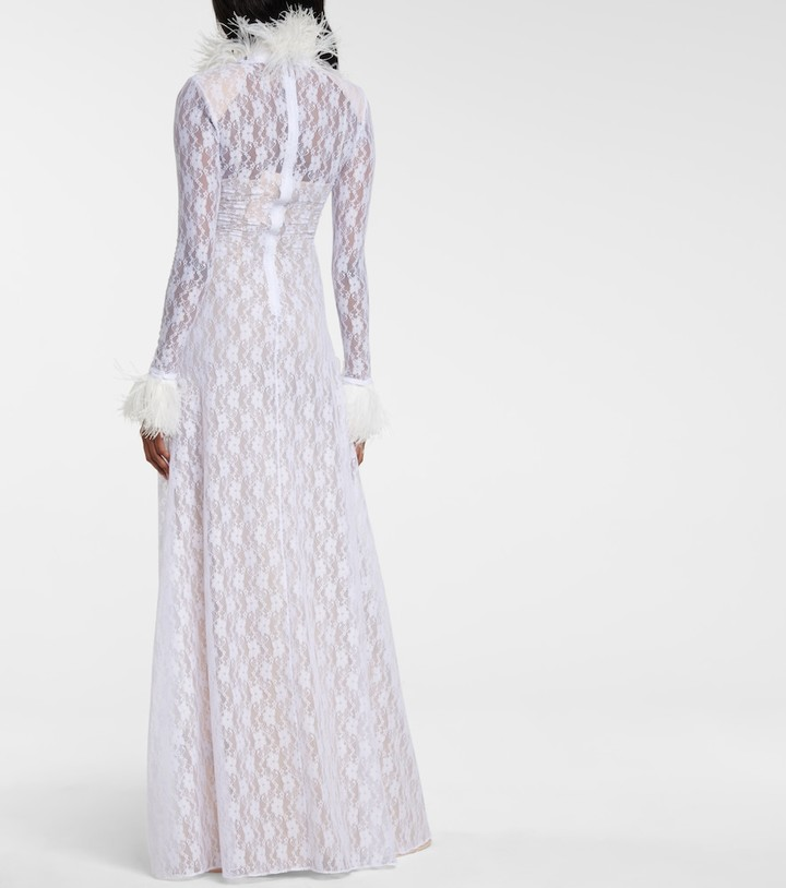 Thumbnail for your product : Christopher Kane Bridal feather-trimmed lace gown