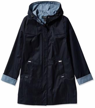 Jones New York Women's Hooded Trench Coat Rain Jacket