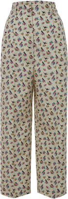 Prada Cropped Floral-Print Silk Tapered Pants