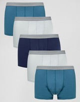 Asos Trunks In Blue With Gray Textured Waistband 5 Pack