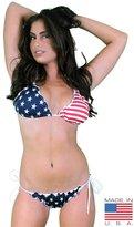 SHORE TRENDZ Women's Juniors Ruffle USA Flag Bikini Set Swimwear Top (Medium) Bottom (Small)